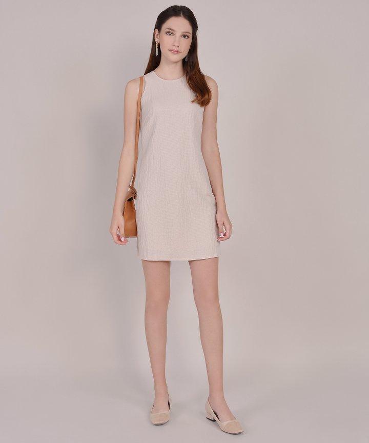 Sienna Striped Shift Dress - Sand