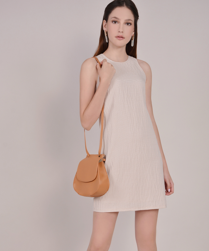 Sienna Striped Shift Dress - Sand
