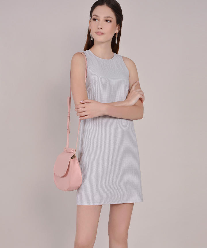 Sienna Striped Shift Dress - Pale Periwinkle