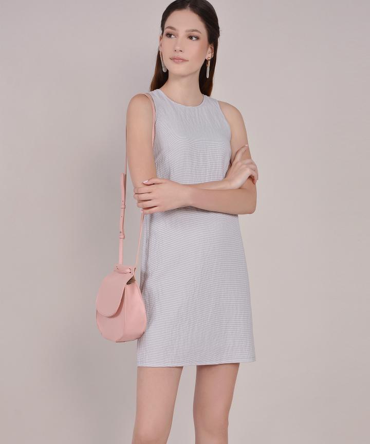 Sienna Striped Shift Dress - Pale Periwinkle