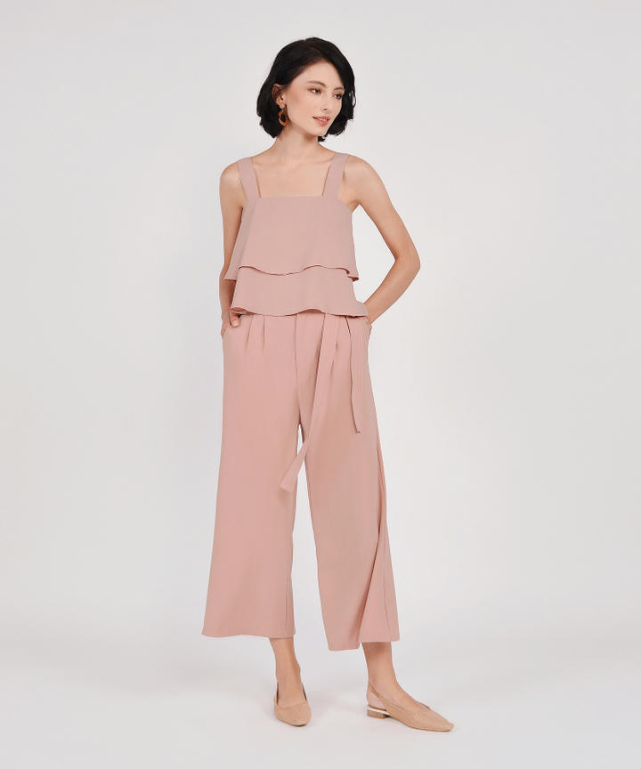 Gemma Wide Leg Trousers - Blush