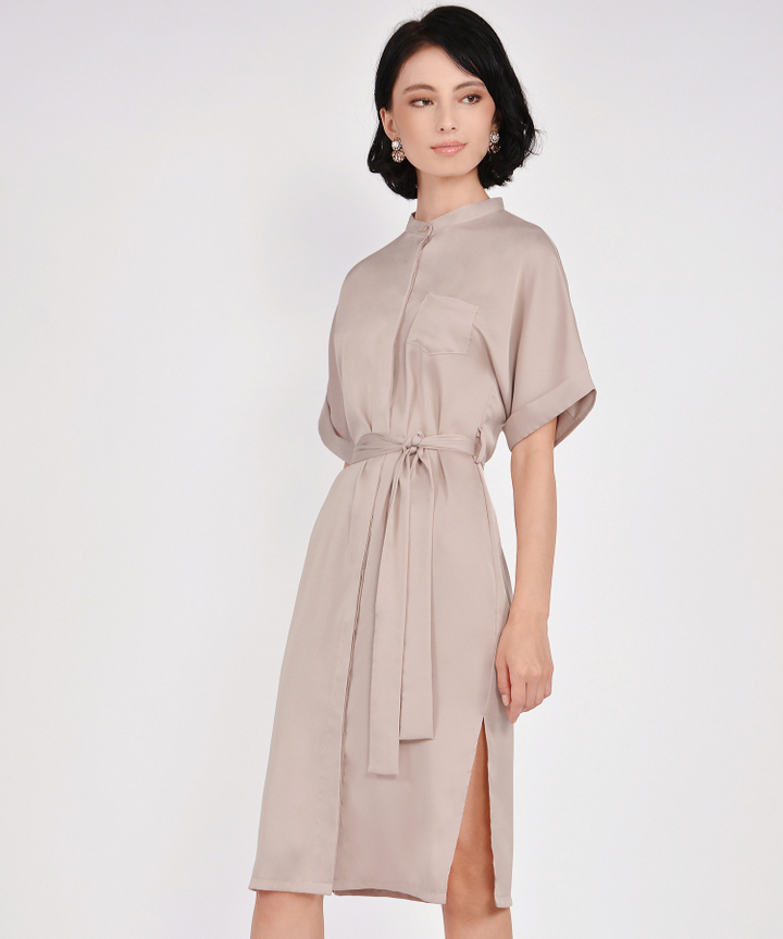 Oxford Midi Shirtdress - Champagne