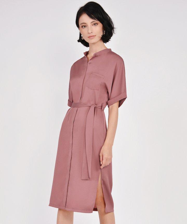 Oxford Midi Shirtdress - Coral Rose
