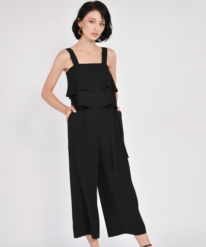 Gemma Wide Leg Trousers - Black