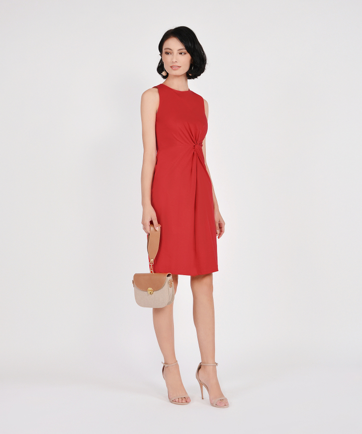 Lena Knotted Dress - Scarlet
