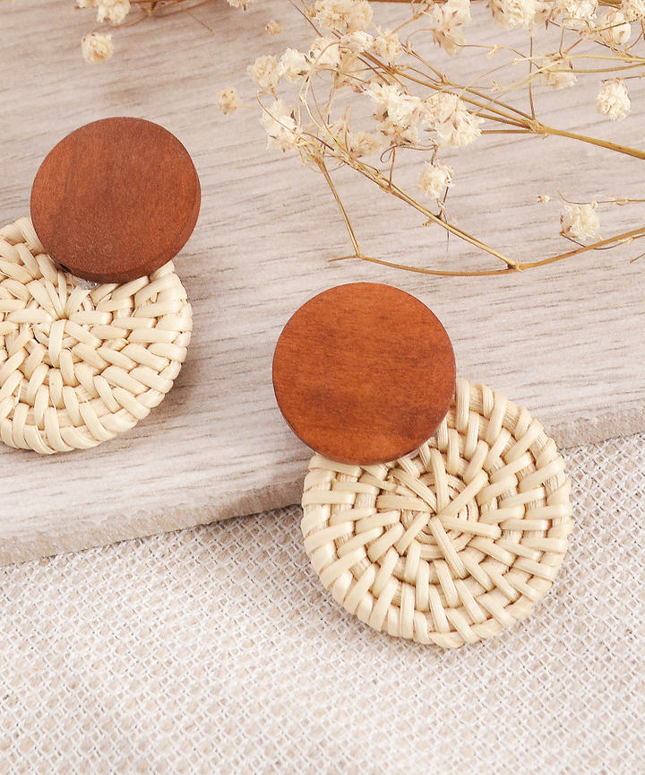 Corrine Rattan Circle Earrings - Brown