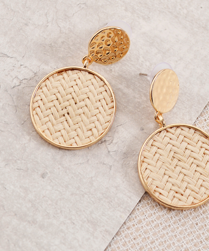 Double Circle Earrings - Natural