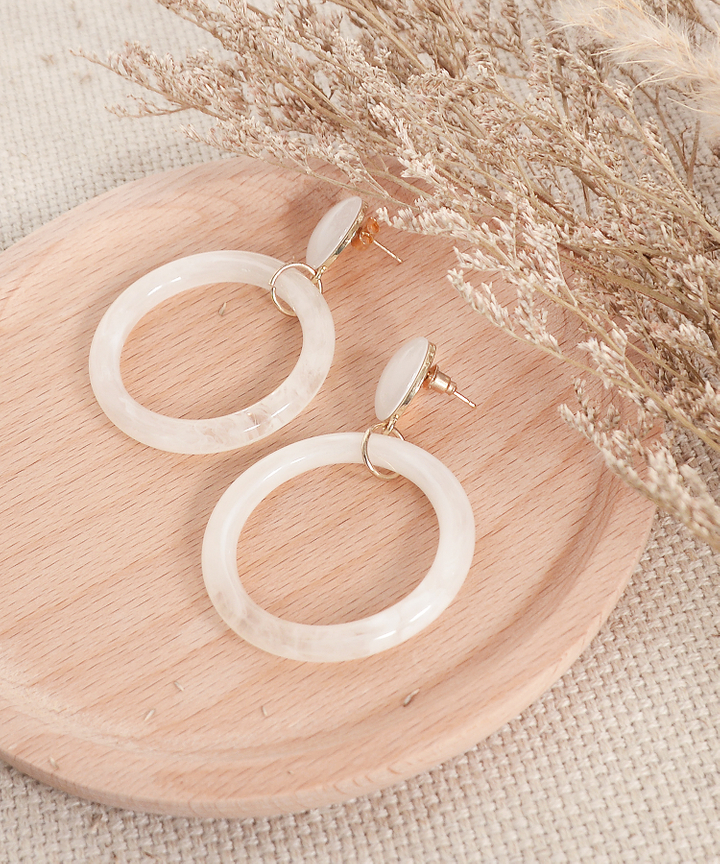 Cruz Marble Hoop Earrings