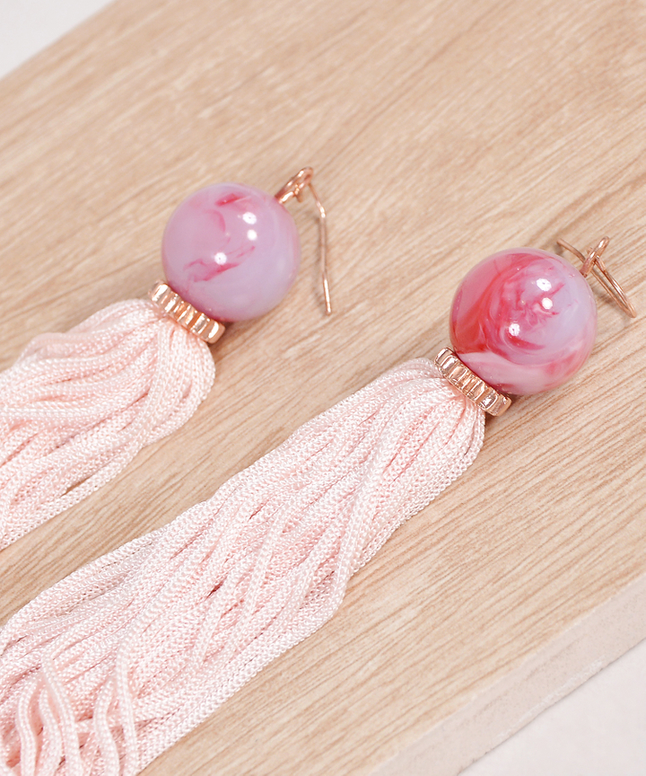 Caesar Tassel Earrings - Pale Pink