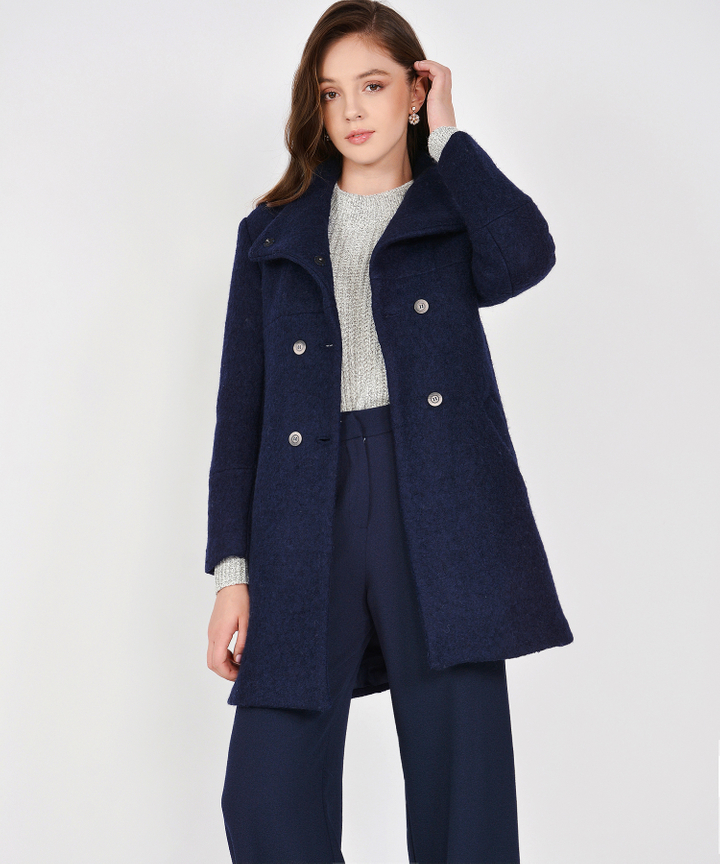 Aurora Classic Wool Coat - Navy