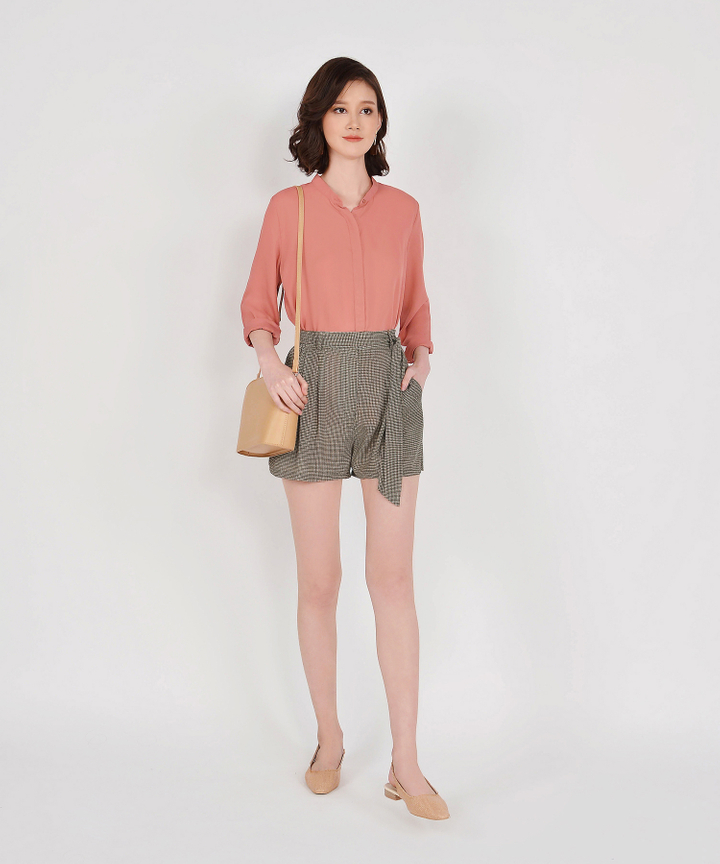 Rory Long Sleeve Blouse - Terracotta