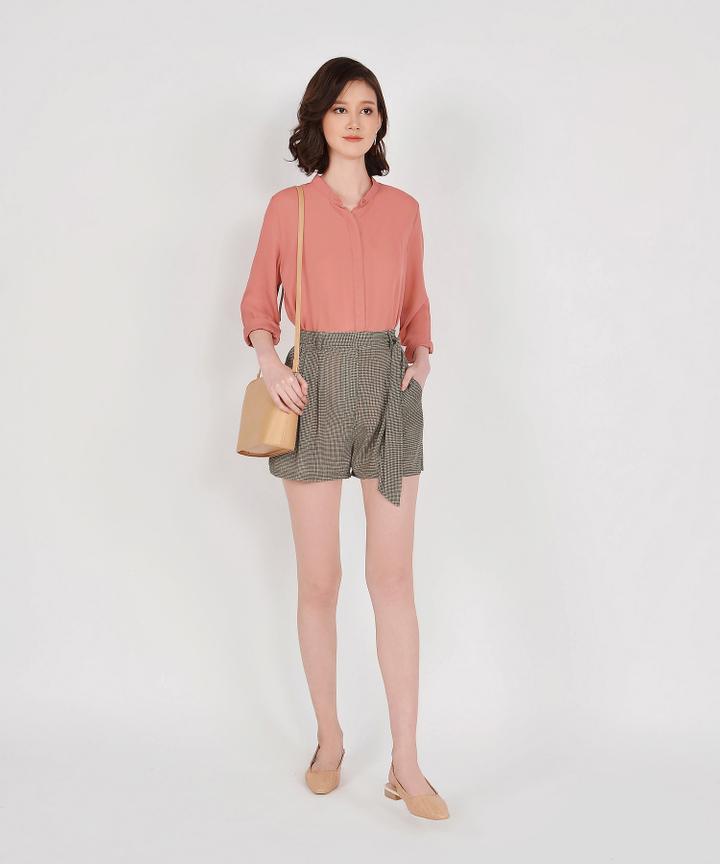 Rory Long Sleeve Blouse - Terracotta
