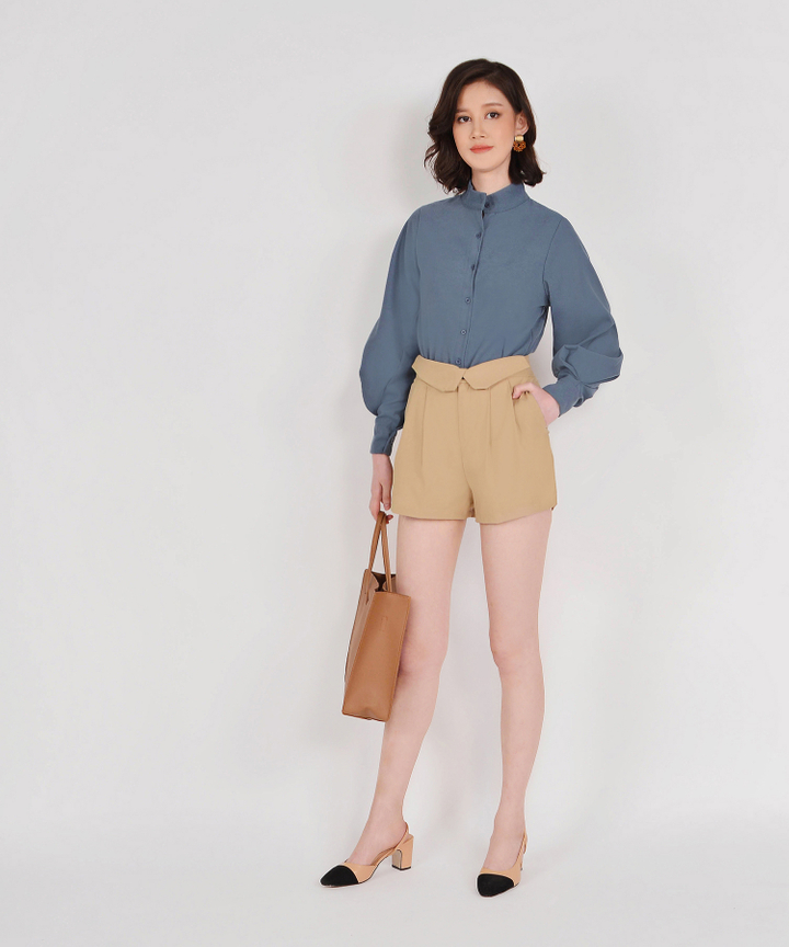 French Foldover Shorts - Khaki