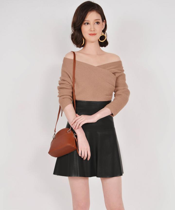 Eden Off-shoulder Knit Top - Tan (Backorder)