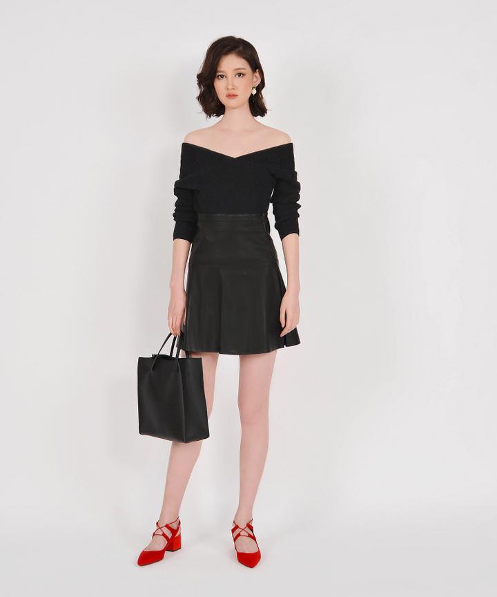 Eden Off-shoulder Knit Top - Black (Backorder)