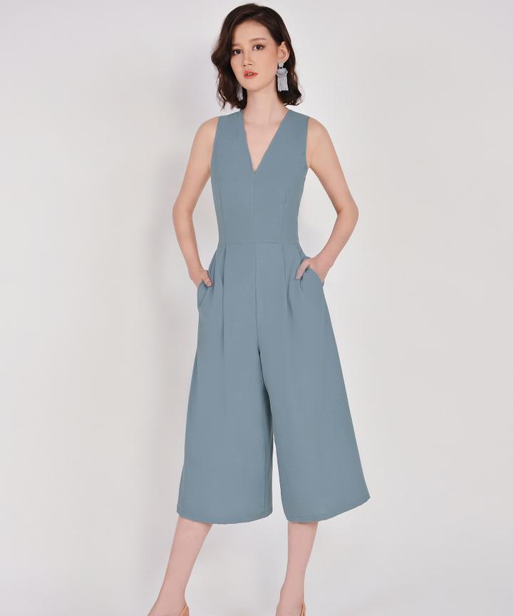 Dorothy V-Neck Jumpsuit - Mist Blue