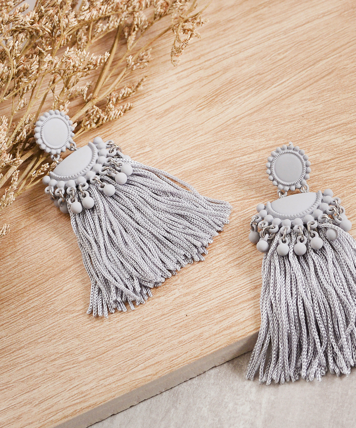 Ulysses Tassel Earrings - Grey