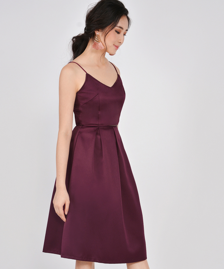 HVV Atelier Ella Structured Midi Skirt - Burgundy
