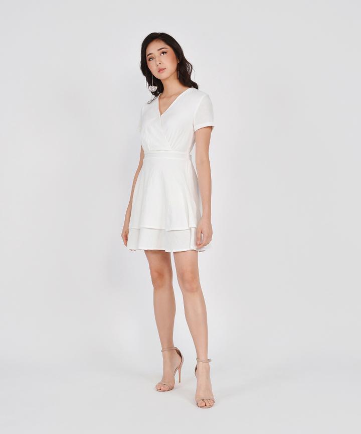 Angelica Textured Tiered Dress - White (Restock)