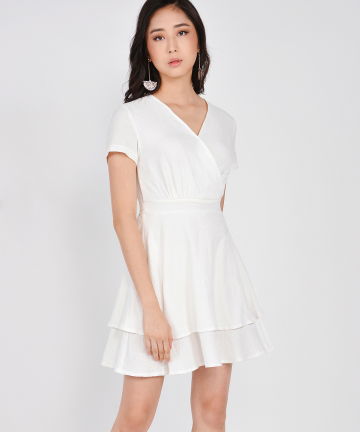 Angelica Textured Tiered Dress - White (Restock)