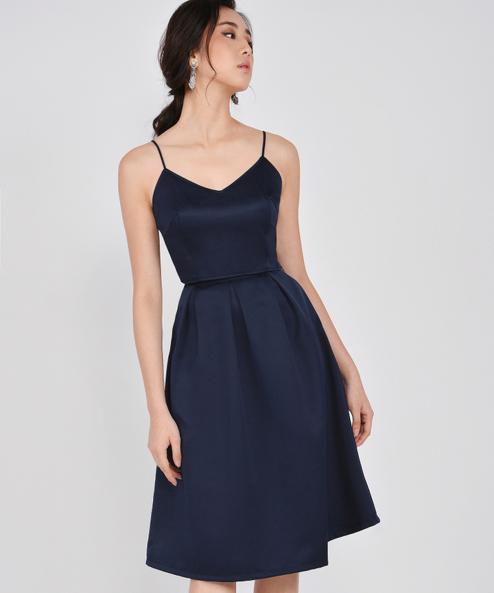 HVV Atelier Ella Structured Midi Skirt - Navy