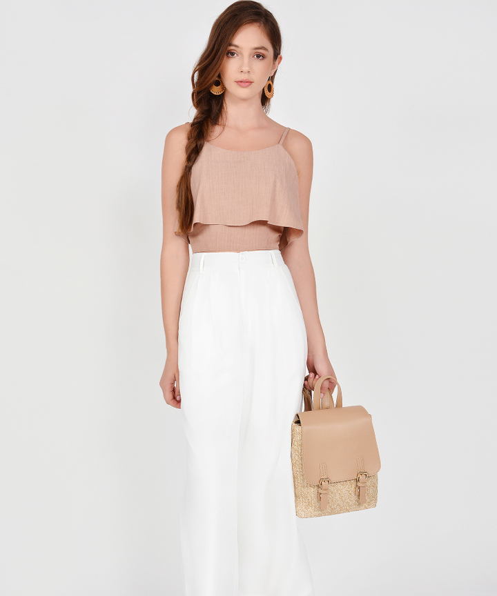 Sybil Overlay Cropped Top - Rose Beige