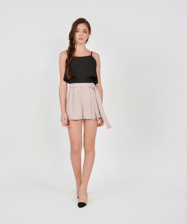 Jayne Belted Shorts - Pale Mauve