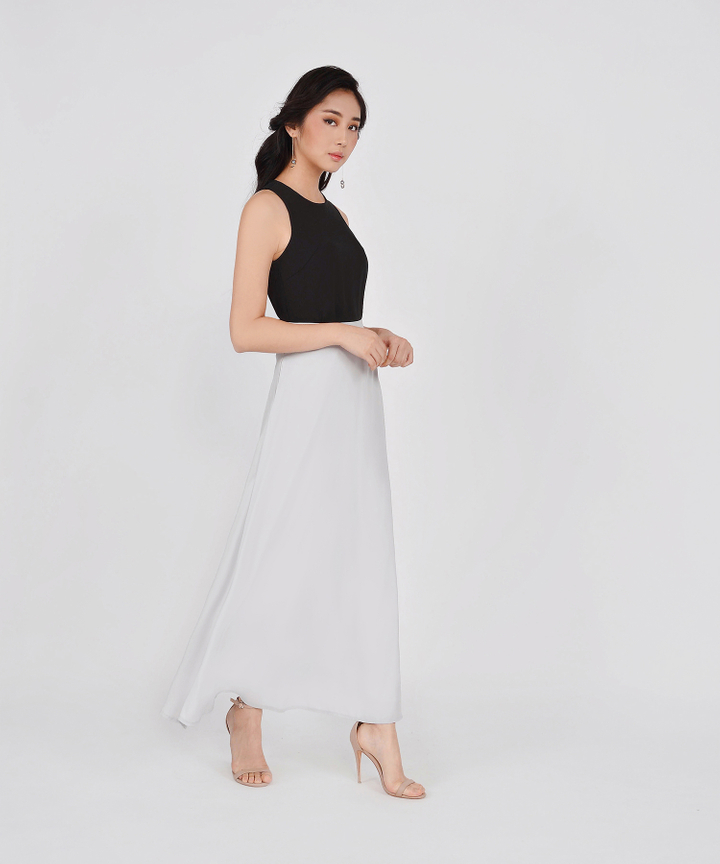 HVV Atelier Estelle Maxi Skirt - Pale Grey
