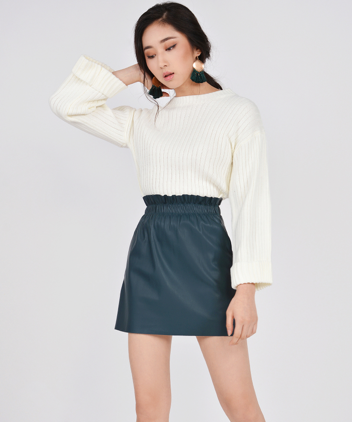Luna Pleather Paperbag Skirt - Teal
