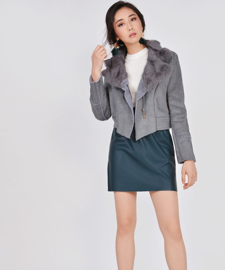 Selina Shearling Jacket - Grey