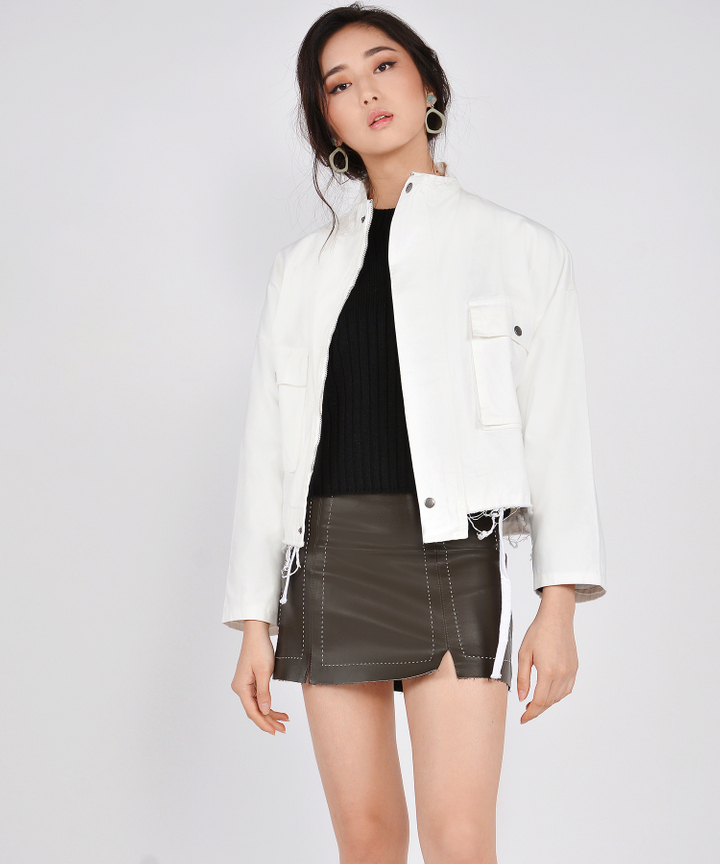 Milton Distressed Jacket - White