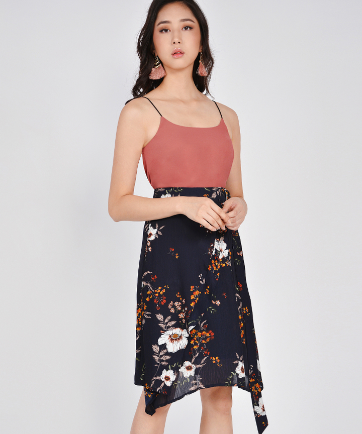 Esmerelda Floral Skirt - Navy