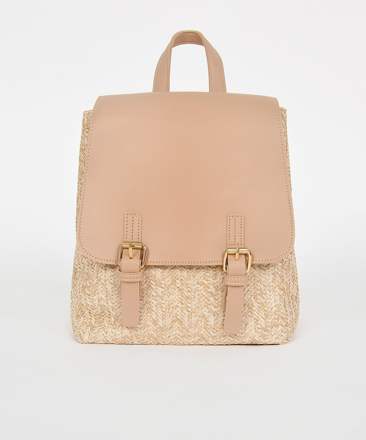 Tavi Straw Backpack - Tan