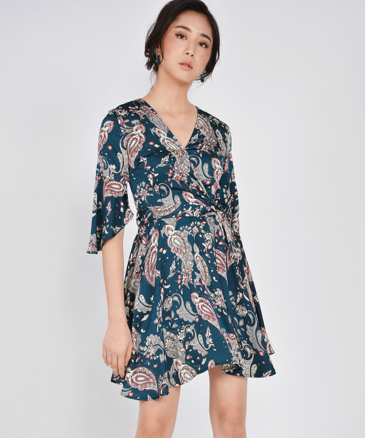 Spruce Printed Kimono Dress - Navy (Restock)