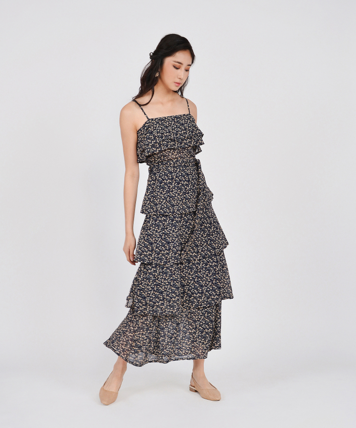 Rosemarie Floral Tiered Maxi - Navy (Restock)