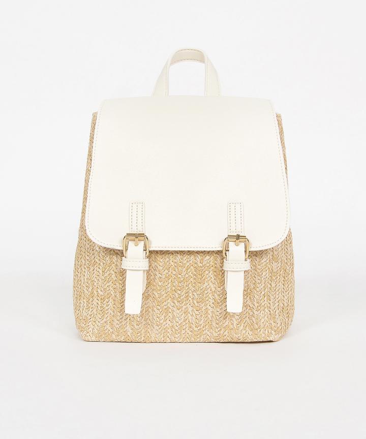Tavi Straw Backpack - White