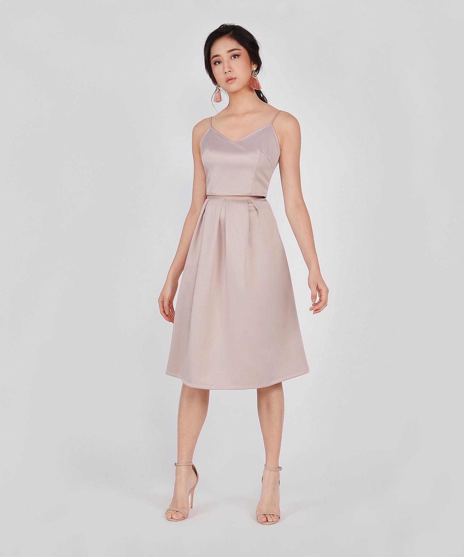 93f3d0fd8e HVV Atelier Ella Structured Midi Skirt - Champagne | hervelvetvase