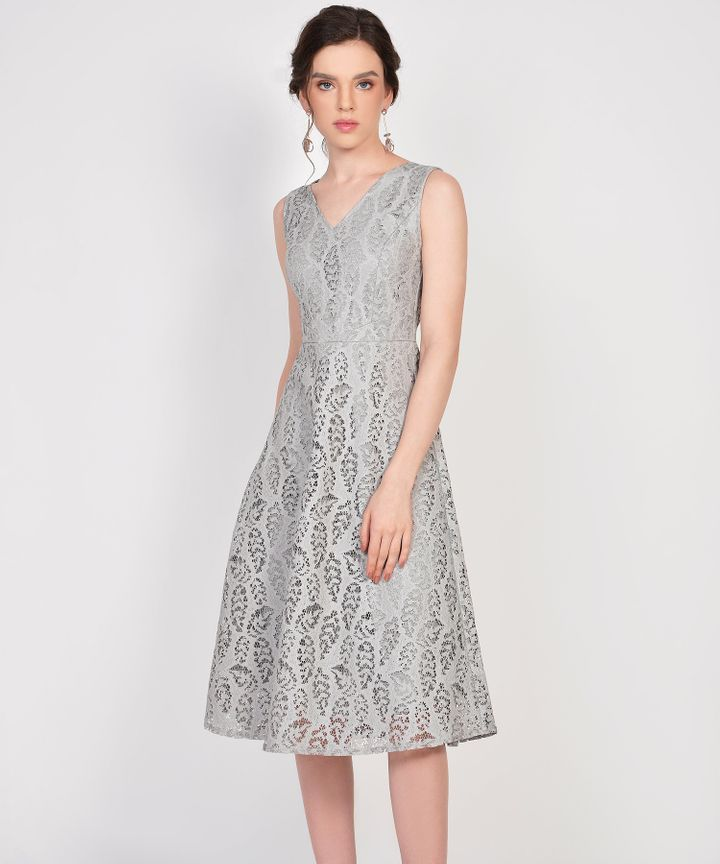 Karina Lace Midi Dress - Grey