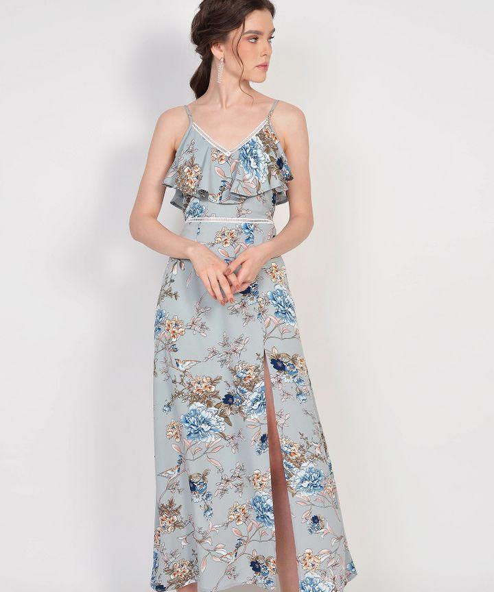 Megumi Floral Ruffle Maxi - Mist Blue