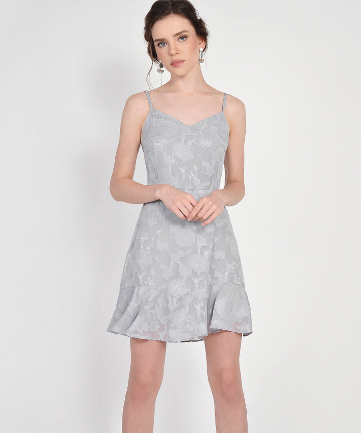 Clair Chiffon Jacquard Dress - Pale Grey