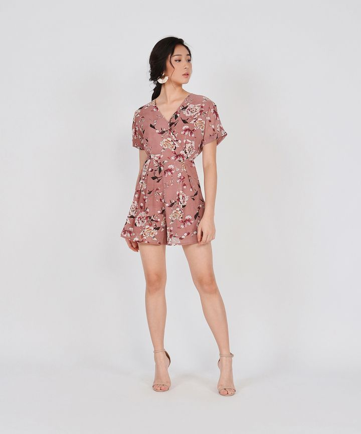 Minami Floral Kimono Playsuit - Rose (Restock)