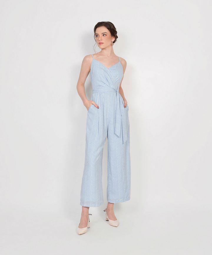 Sierra Striped Jumpsuit - Pale Blue