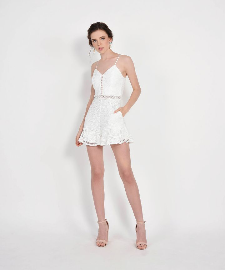 Essence Crochet Playsuit - White
