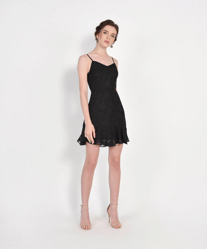 Clair Chiffon Jacquard Dress - Black