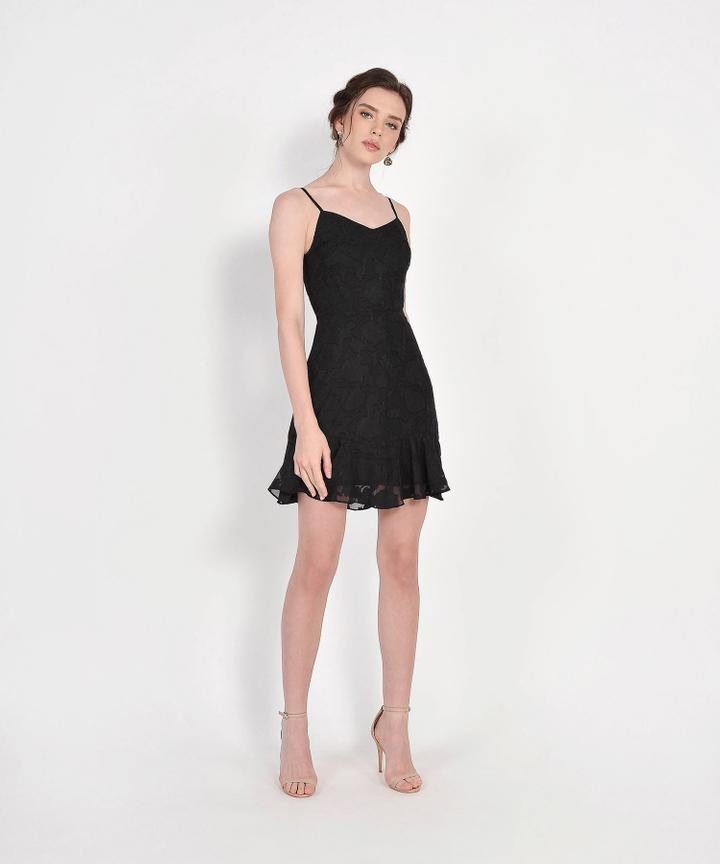 Clair Chiffon Jacquard Dress - Black
