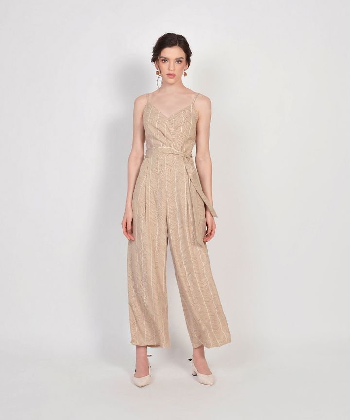 Sierra Striped Jumpsuit - Sand