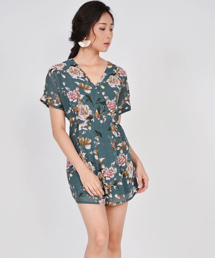 Minami Floral Kimono Playsuit - Dark Teal (Restock)
