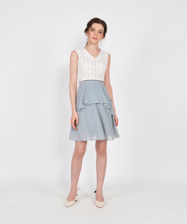 Whimsy Textured Skirt - Mist Blue