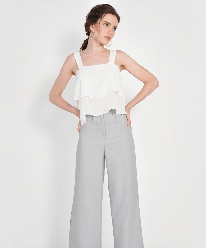 Gwyneth Textured Tiered Top - White