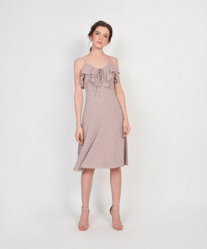 Lula Polka Ruffle Dress - Pale Mauve